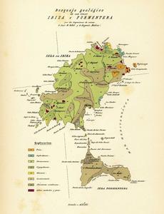 Geologia. Mapa geològic d´Eivissa i Formentera, fet a final del s. XIX pels enginyers de mines Lluís M. Vidal i Eugenio Molina.