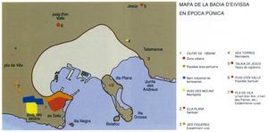 Ciutat d´Eivissa. Història i evolució urbana. Mapa de la badia d´Eivissa en època púnica. Extret d´<em>Eivissa i Formentera, de la prehistòria a l´època islàmica...</em>