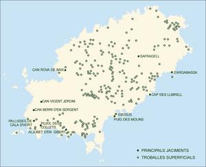 Època romana. Mapa d´Eivissa amb les troballes d´època altimperial romana. Elaboració: Museu Arqueològic d´Eivissa i Formentera / José F. Soriano Segura / Antoni Ferrer Torres.