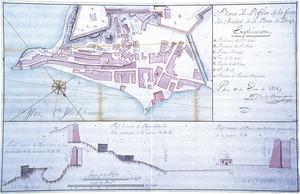 Plànol i perfil del port d´Eivissa, de 1738, de Carlos Berenguer. Foto: cortesia de l´Archivo General de Simancas.