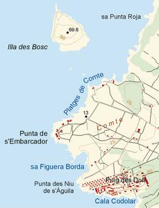 La punta de s´Embarcador, entre les platges de Comte i sa Figuera Borda, a la costa de Sant Agustí des Vedrà. Elaboració: José F. Soriano Segura / Antoni Ferrer Torres.