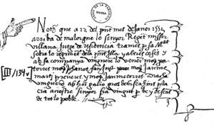Llibres d´Entreveniments. Nota del llibrer Gaspar Basset, de 1552.