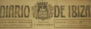 Capçalera de <em>Diario de Ibiza</em> amb el nom del seu fundador, Francesc Escanellas Sunyer.