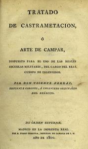 Portada del llibre <em>Tratado de castramentación o arte de campar</em>, de Vicent Ferraz Navarro. Col·lecció Joan Palau Comas / Arxiu Històric Municipal d´Eivissa.