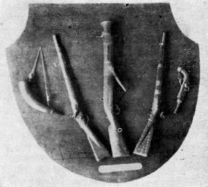 Antoni Ferrer. Panòplia amb diverses armes emprades pels corsaris eivissencs que es trobava a l´antiga biblioteca de la Caixa de Pensions. Extret d´<em>Apuntes para la historia marítima de Ibiza</em> / Joan Llabrès.