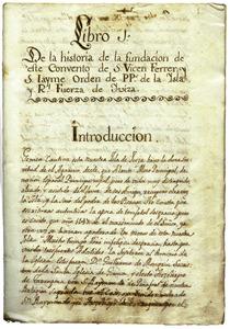 Pàgina inicial de la història del convent dels dominics d´Eivissa, obra de Vicent Ferrer i Canals. Extret d´<em>El convent dels pares dominics d´Eivissa.</em>