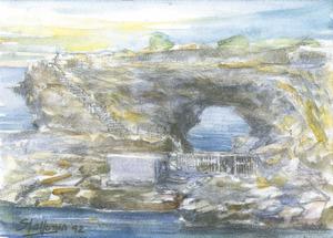 El racó de sa Figuera Borda, al S de les platges de Comte, en una pintura de Mario Stafforini.