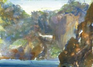 Dibuix de Mario Satafforini del promontori de sa Foradada, a la costa de Corona.