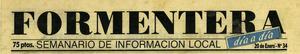 Capçalera del setmanari <em>Formentera Día a Día</em>, que es publicà entre 1987 i 1991.