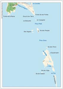 Plànol del pas des Freus, entre les illes d´Eivissa i Formentera. Elaboració: José F. Soriano Segura / Antoni Ferrer Torres.
