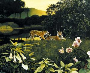 <em>Tigres en un jardí</em> (1998), oli damunt tela, obra de Penelope Fulljames.