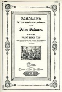 Portada del llibre <em>Panorama óptico-histórico-artístico de las islas Baleares</em>, obra de l´investigador mallorquí Antoni Furió Sastre. Col·lecció JAR.