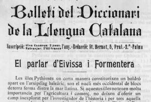 Capçalera del <em>Bolletí del Diccionari de la Llengua Catalana</em> amb l´article d´Antoni Griera i Gaja sobre el parlar d´Eivissa i Formentera.