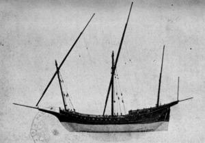 Vaixell corsari eivissenc de l´època d´Agustí Grisaldo. Extret d´<em>Apuntes para la historia marítima de Ibiza</em>.