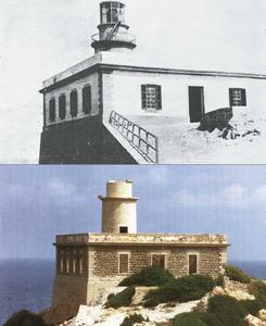 Dues imatges del far de sa Punta Grossa, la primera quan encara funcionava, l´altra de final del s. XX, completament abandonat.