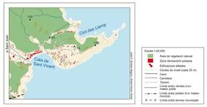 Plànol del massís muntanyós de la punta Grossa, a la cala de Sant Vicent, municipi de Sant Joan de Labritja. Elaboració: José F. Soriano Segura / Antoni Ferrer Torres.