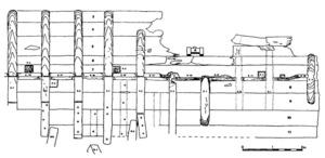 Croquis del buc de la nau romana realitzat en la campanya de 1991 al Grum de Sal. Realització: B. Martínez Díaz / C. León Amores.