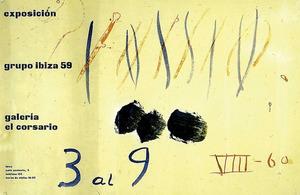 Anunci d´una exposició del Grup Ibiza 59, realitzat per Pancho Cossio. Extret d´<em>Eivissa, anys 60 - El naixement de Babel</em>.