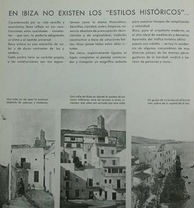 Pàgina de la revista <em>AC</em> <em>(Documents d´Activitat Contemporània</em>) sobre arquitectura eivissenca, donada a conèixer pel Grup d´Arquitectes i Tècnics Catalans per al Progrés de l´Arquitectura Contemporània (GATCPAC). Extret de la evista <em>A.C.</em>