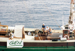 Una imatge del pailebot <em>Rafael Verdera</em> durant la volta a Eivissa, una activitat organitzada pel Grup d´Estudis de la Naturalesa. Foto: Joan Lluís Ferrer Colomar.
