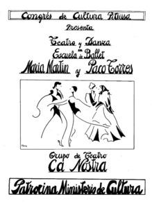 Cartell d´un muntatge teatral del Grup de Teatre Ca Nostra juntament amb l´Escola de Ballet María Martín i Paco Torres.