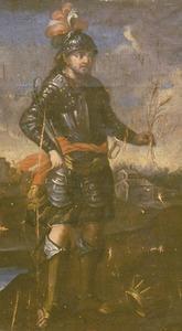 Detall del retaula de Sant Antoni, de la catedral d´Eivissa, amb un cavaller vestit de ferro, com els cavallers de la Guerra Civil Catalana. Foto: Toni Pomar.