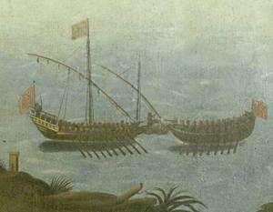 Eivissa contribuí al bàndol de Joan II durant la Guerra Civil Catalana amb diverses embarcacions armades. En la imatge, detall d´una pintura del s. XVII de l´església de Sant Antoni que representa un combat naval. Foto: Toni Pomar.