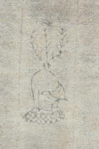 Marca d´aigües d´un foli del <em>Llibre d´actes, contractes i albarans </em>de 1462-78, època de la Guerra Civil Catalana.