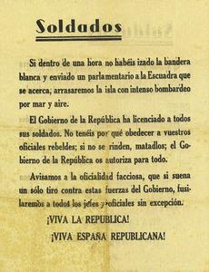 Proclama llançada per avions republicans sobre Eivissa, durant la Guerra Civil Espanyola. Cortesia de Matilde Boned.