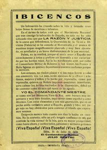 Proclama del comandant Juli Mestre del dia 31 de juliol de 1936, al començament de la Guerra Civil Espanyola. Cortesia de Matilde Boned.
