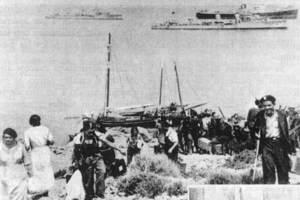 Guerra Civil Espanyola. Desembarcament as Pou des Lleó, el 8 d´agost de 1936.
