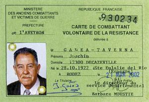 Segona Guerra Mundial. Carnet d´excombatent de la Resistència de l´eivissenc Joaquim Gadea Taverna.