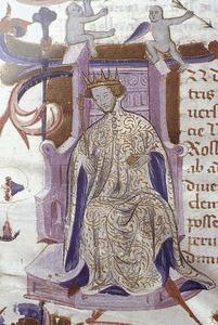Miniatura del <em>Llibre de Privilegis</em> (Arxiu Històric de Mallorca), que representa el rei Pere el Cerimoniós, un dels protagonistes de la Guerra dels dos Peres.
