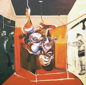 Una obra d´Orlando Herrera (<em>El matadero</em>, acrílic 1 x 0,90 m). Foto: arxiu de Marià Planells Cardona.