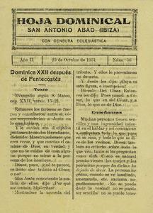 Portada del setmanari <em>Hoja Dominical</em>, editat entre 1930 i 1933 per la parròquia de Sant Antoni de Portmany.