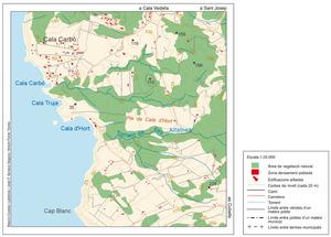 Mapa de cala d´Hort. Elaboració: Maurici Cuesta Labèrnia / José F. Soriano Segura / Antoni Ferrer Torres.