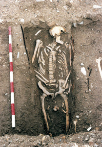 Enterrament descobert durant les excavacions de l´Hospital Vell. Foto: Ángeles Martín Parrilla / Rosa Gurrea Barricarte.
