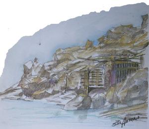 Es caló de s´Illa, a la costa de Sant Miquel de Balansat, segons aquarel·la de Mario Stafforini.