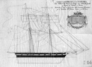 La goleta de gàbies de setze canons <em>Intrépida</em>, construïda a baix de Molins, sota la direcció d´Antoni Riquer. Cortesia de l´Arxiu Històric Municipal d´Eivissa.
