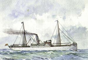 El vapor <em>Isleño</em>, de la naviliera Isleña Marítima. Sampol Isern.