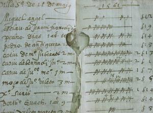 Fragment del <em>Llibre dels obrers de les murades</em>, on apareix el nom del mestre d´obres Antoni Jaume. Cortesia de l´Arxiu Històric Municipal d´Eivissa.