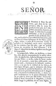 Portada del Memorial presentat per Marc Joan Riquer a la cort el 1734, en el qual demanava una compensació per a l´Ajuntament d´Eivissa per la pèrdua de les salines.