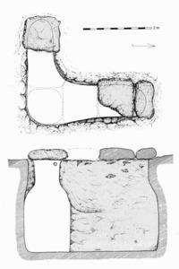 Esquema de la cisterna del jaciment arqueològic de can Joanet, a la parròquia de Sant Francesc de s´Estany. Elaboració. Jordi H. Fernández Gómez / Ana Mezquida Orti.