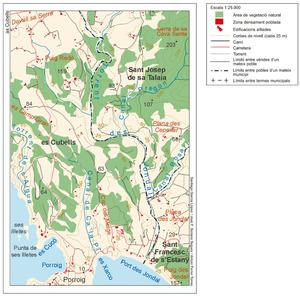 Mapa del torrent des Jondal. Elaboració: Santiago García Lópèz / José F. Soriano Segura / Antoni Ferrer Torres.