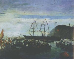 Junta Provincial del aguinaldo del soldado.<em></em> Oli de R. Padr&oacute; amb l´embarcament de voluntaris al port de Barcelona, cap a la guerra de Cuba.