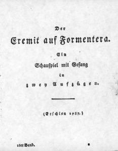 Portada de l´obra del dramaturg August von Kotzebue, <em>Der Eremit auf Formentera</em>, ambientada a Formentera.
