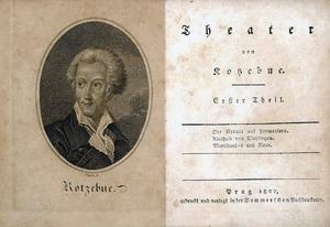Reproducció d´una edició alemanya de 1822 de tres obres de teatre d´August von Kotzebue, entre les quals hi ha <em>Der Eremit auf Formentera</em>. (Foto: col·lecció MPD)