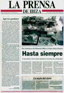 Últim número de <em>La Prensa de Ibiza</em>, publicat el 15 d´agost de 1993.