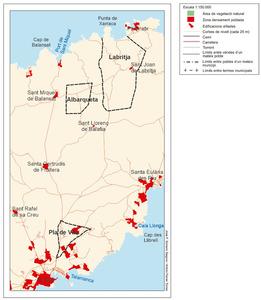 Mapa de la cavalleria de Labritja i Benissomada, dividida en tres parts que no confinaven entre si. Elaboració: José F. Soriano Segura / Antoni Ferrer Torrers.
