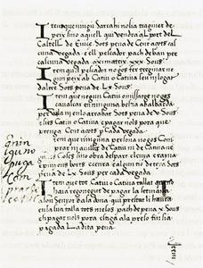 Pàgina del <em>Llibre del mostassaf d´Eivissa</em>, manuscrit que es conserva a la Biblioteca de Catalunya.